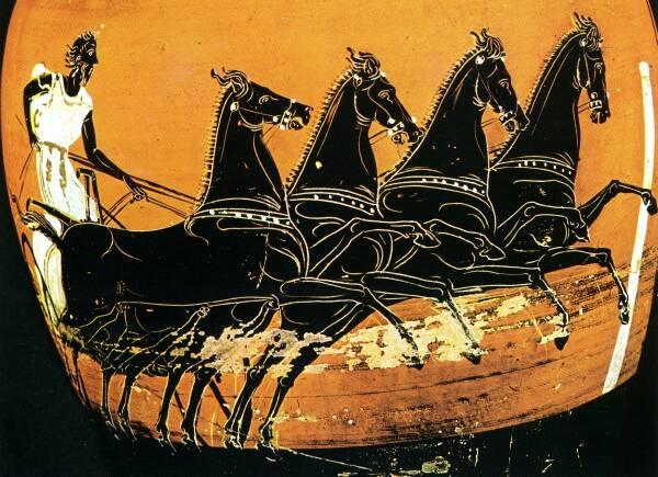 Carrera de cuádriga. Cerámica griega. 410-400 a.c. British Museum
